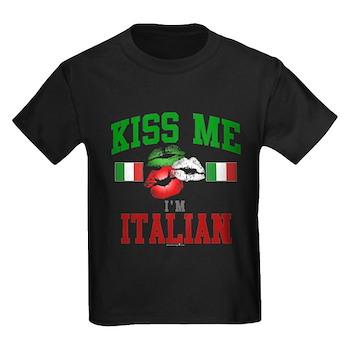 Kiss Me I'm Italian Kids Dark T-Shirt