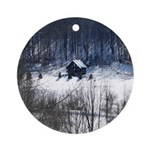 Winter Cabin Ornament (Round)