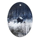 Winter Cabin Ornament (Oval)