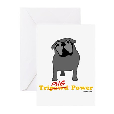 Tri-Pug Power Greeting Cards (Pk of 10)