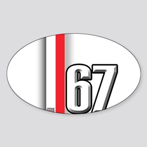 67 Red White Sticker (Oval)