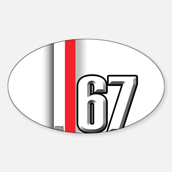 67 Red White Sticker (Oval)