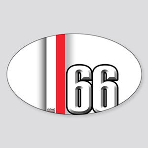 66 Red White Sticker (Oval)