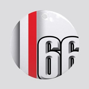 66 Red White Ornament (Round)