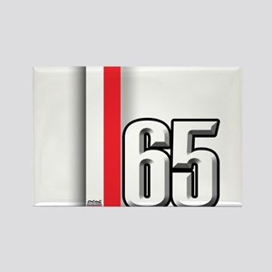 65 Red White Rectangle Magnet