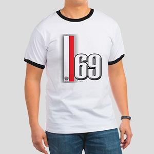 69 Red Whirte Ringer T