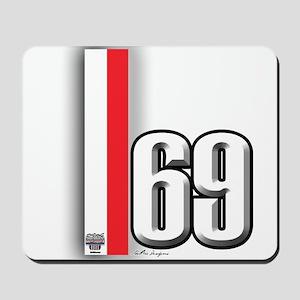 69 Red Whirte Mousepad