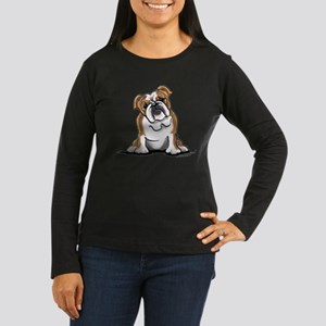 Brown White Bulldog Women's Long Sleeve Dark T-Shi