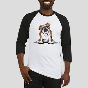Brown White Bulldog Baseball Jersey