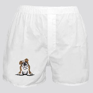 Brown White Bulldog Boxer Shorts