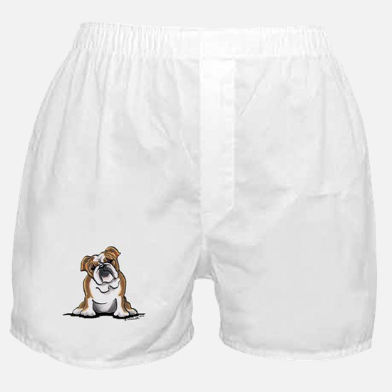 Brown White Bulldog Boxer Shorts