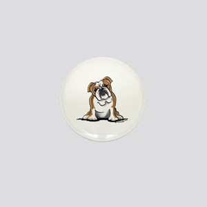 Brown White Bulldog Mini Button