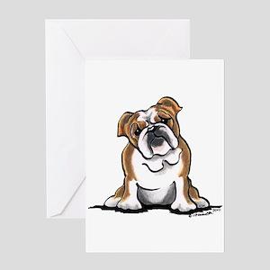 Brown White Bulldog Greeting Card