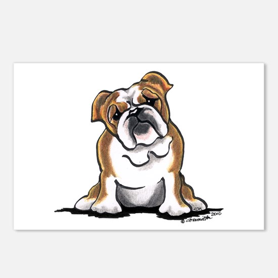 Brown White Bulldog Postcards (Package of 8)