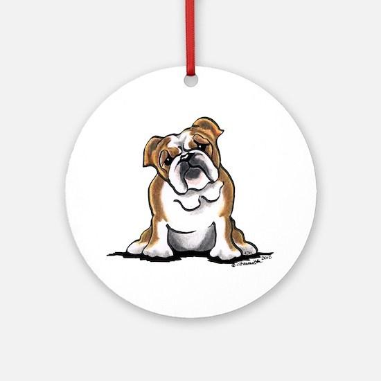Brown White Bulldog Ornament (Round)