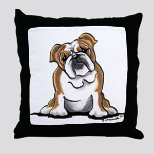 Brown White Bulldog Throw Pillow