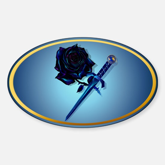 The Black Rose and Dagger Sticker (Oval)