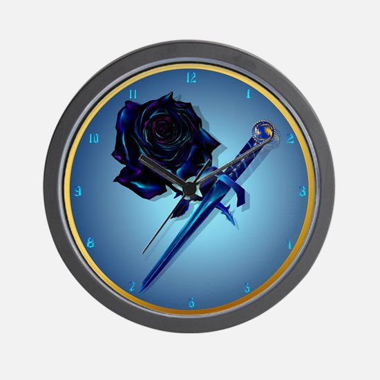 The Black Rose and Dagger Wall Clock