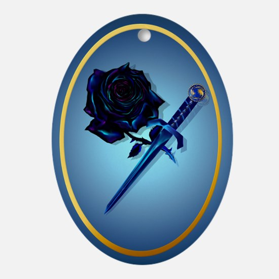 The Black Rose and Dagger Ornament (Oval)