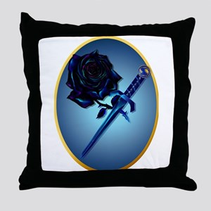 The Black Rose and Dagger Throw Pillow