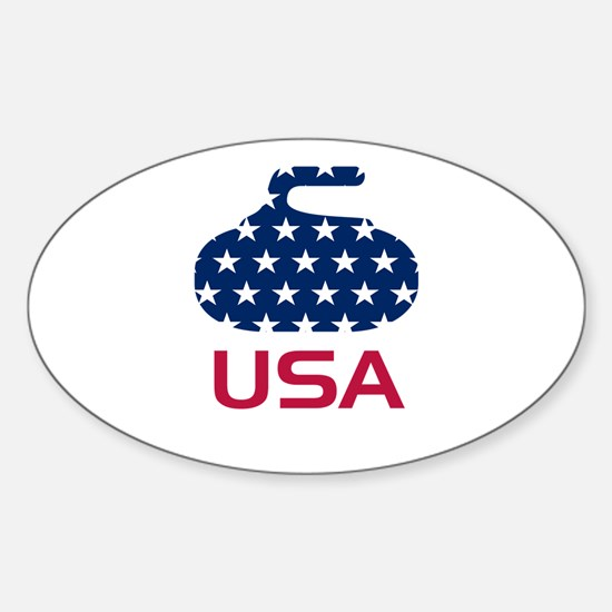 USA curling Sticker (Oval)