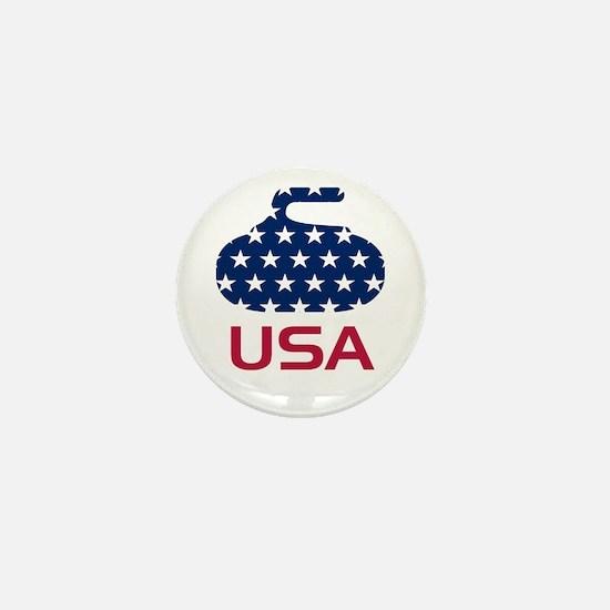 USA curling Mini Button