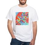Multicolor Oak Leaf Art White T-Shirt