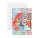 Multicolor Oak Leaf Art Greeting Cards (Pk of 10)