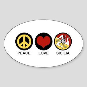 Peace Love Sicilia Sticker (Oval)