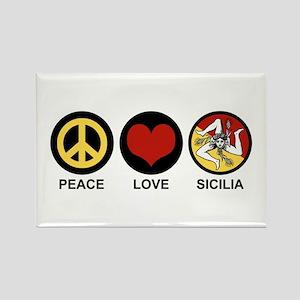 Peace Love Sicilia Rectangle Magnet