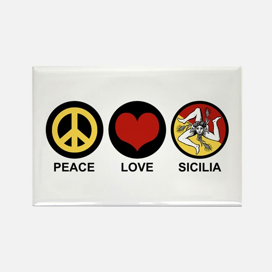 Peace Love Sicilia Rectangle Magnet