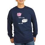 Save a Pig Eat Tofu Long Sleeve Dark T-Shirt