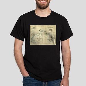 Antique Hawaii Map Dark T-Shirt