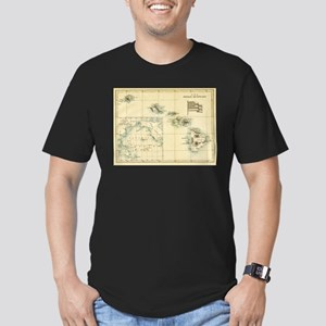 Antique Hawaii Map Men's Fitted T-Shirt (dark)