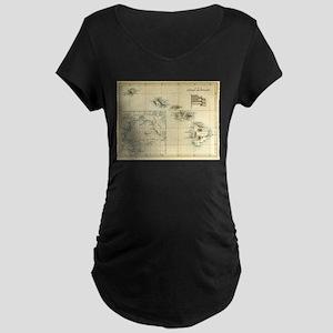 Antique Hawaii Map Maternity Dark T-Shirt