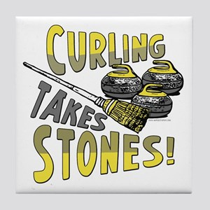 Curling Stones Yellow Tile Coaster