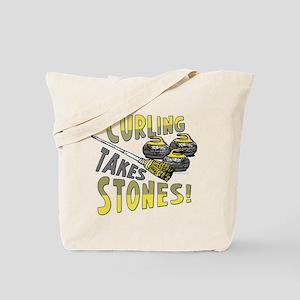 Curling Stones Yellow Tote Bag