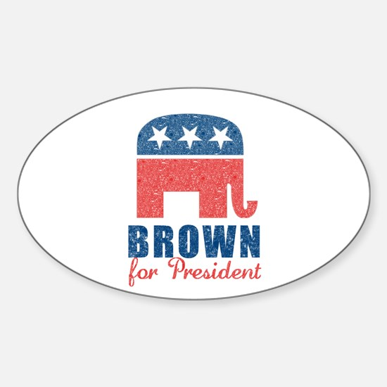 Brown for President Sticker (Oval)