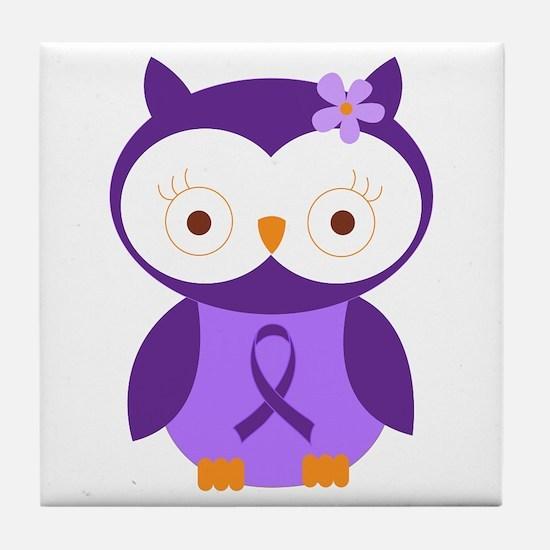 Purple Ribbon Awareness Owl Tile Coaster