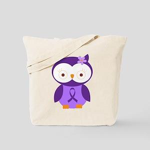 Purple Ribbon Awareness Owl Tote Bag