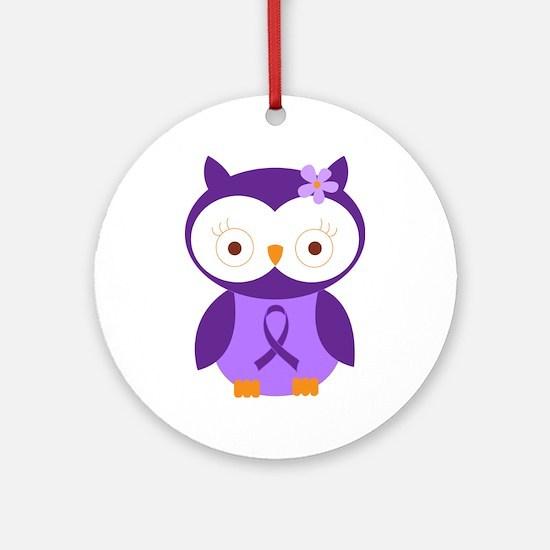 Purple Ribbon Awareness Owl Ornament (Round)