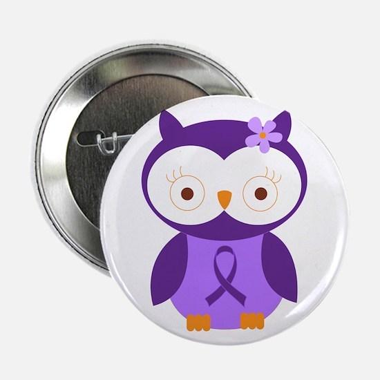 "Purple Ribbon Awareness Owl 2.25"" Button"