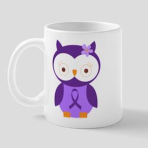 Purple Ribbon Awareness Owl Mug