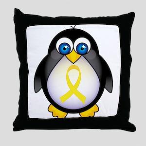 Penguin Yellow Ribbon Awareness Throw Pillow