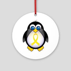 Penguin Yellow Ribbon Awareness Ornament (Round)
