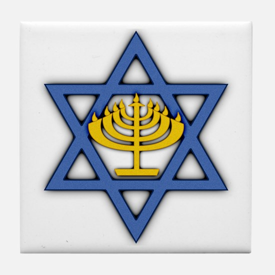 Star of David with Menorah Tile Coaster