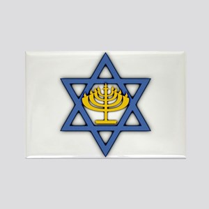 Star of David with Menorah Rectangle Magnet