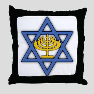 Star of David with Menorah Throw Pillow