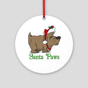 Santa Paws Dog Round Ornament