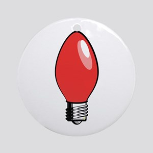 Red Christmas Tree Light Bulb Round Ornament